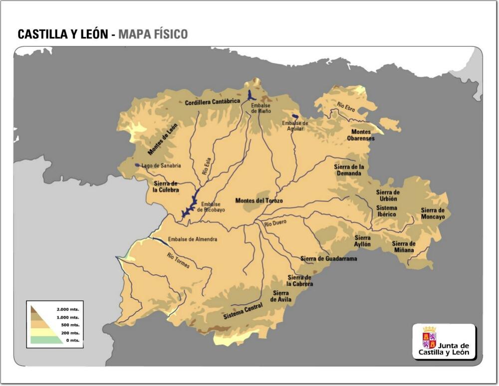 Mapa de relieve de Castilla y León. JCyL
