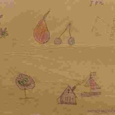 Frutas, casa y árbol