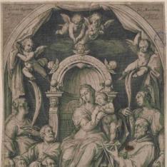 La Virgen en un trono rodeada de Santos