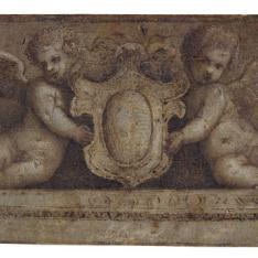 Dos putti alados sujetando un escudo encima de una cornisa