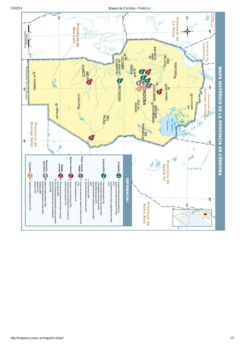 Mapa histórico de Córdoba. Mapoteca de Educ.ar