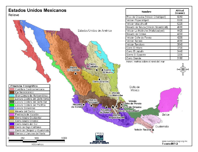 Mapa en color de montañas de México. INEGI de México