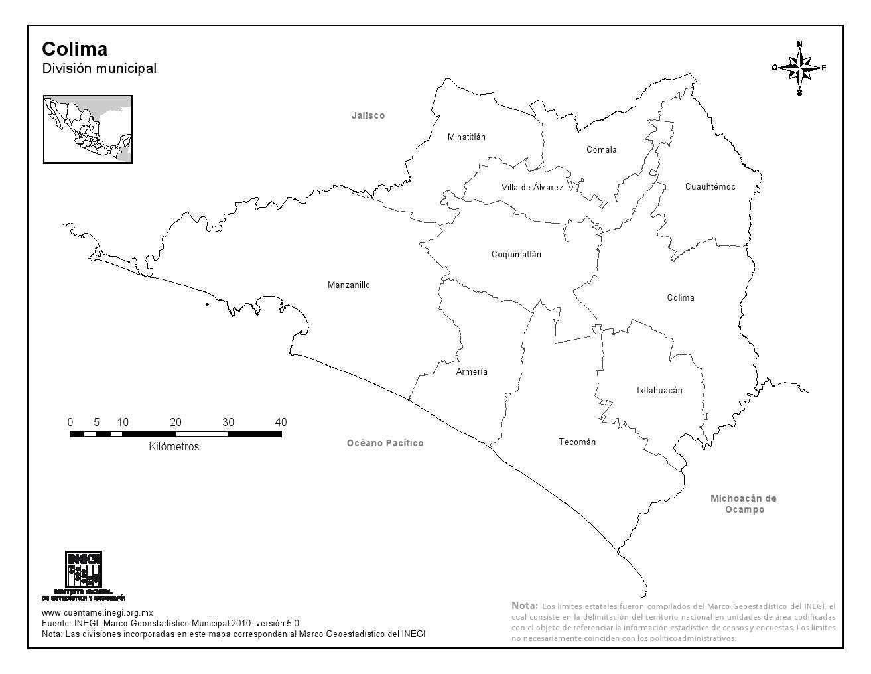 Mapa de municipios de Colima. INEGI de México