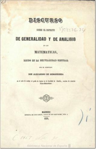 Discurso sobre el espíritu de generalidad y de análisis en las matemáticas