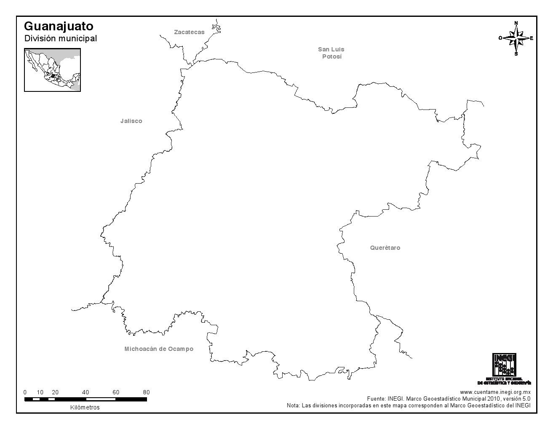 Mapa mudo de Guanajuato. INEGI de México