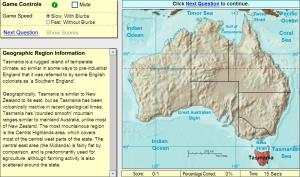 Geographic regions of Oceania. Game. Sheppard Software