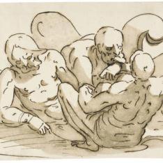 Trofeo de armas, con tres cautivos desnudos recostados