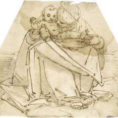 La Virgen sentada con el Niño Jesús en su regazo