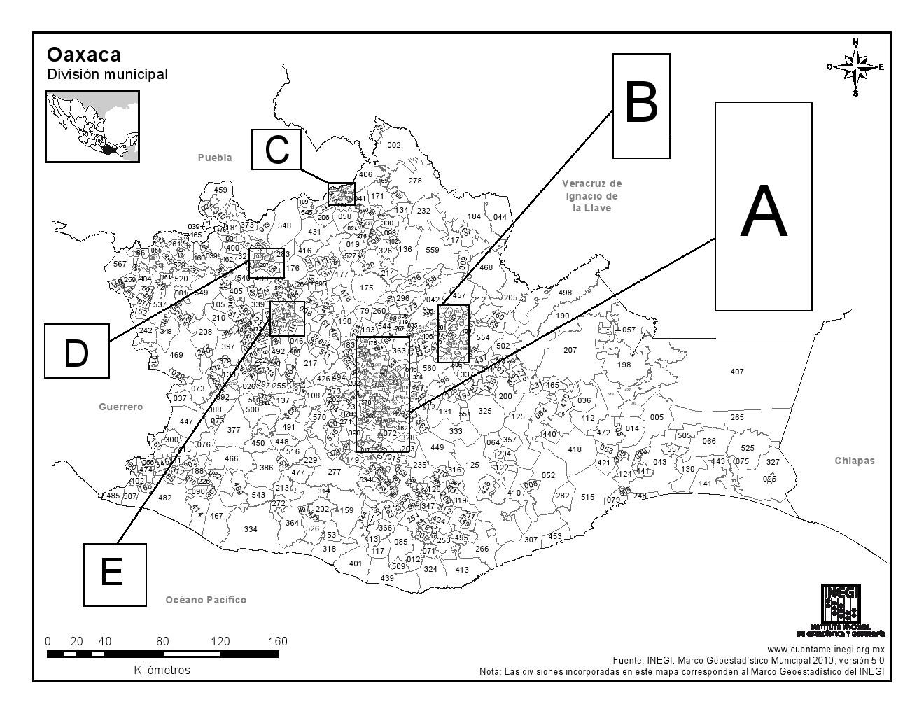 Mapa de municipios de Oaxaca. INEGI de México