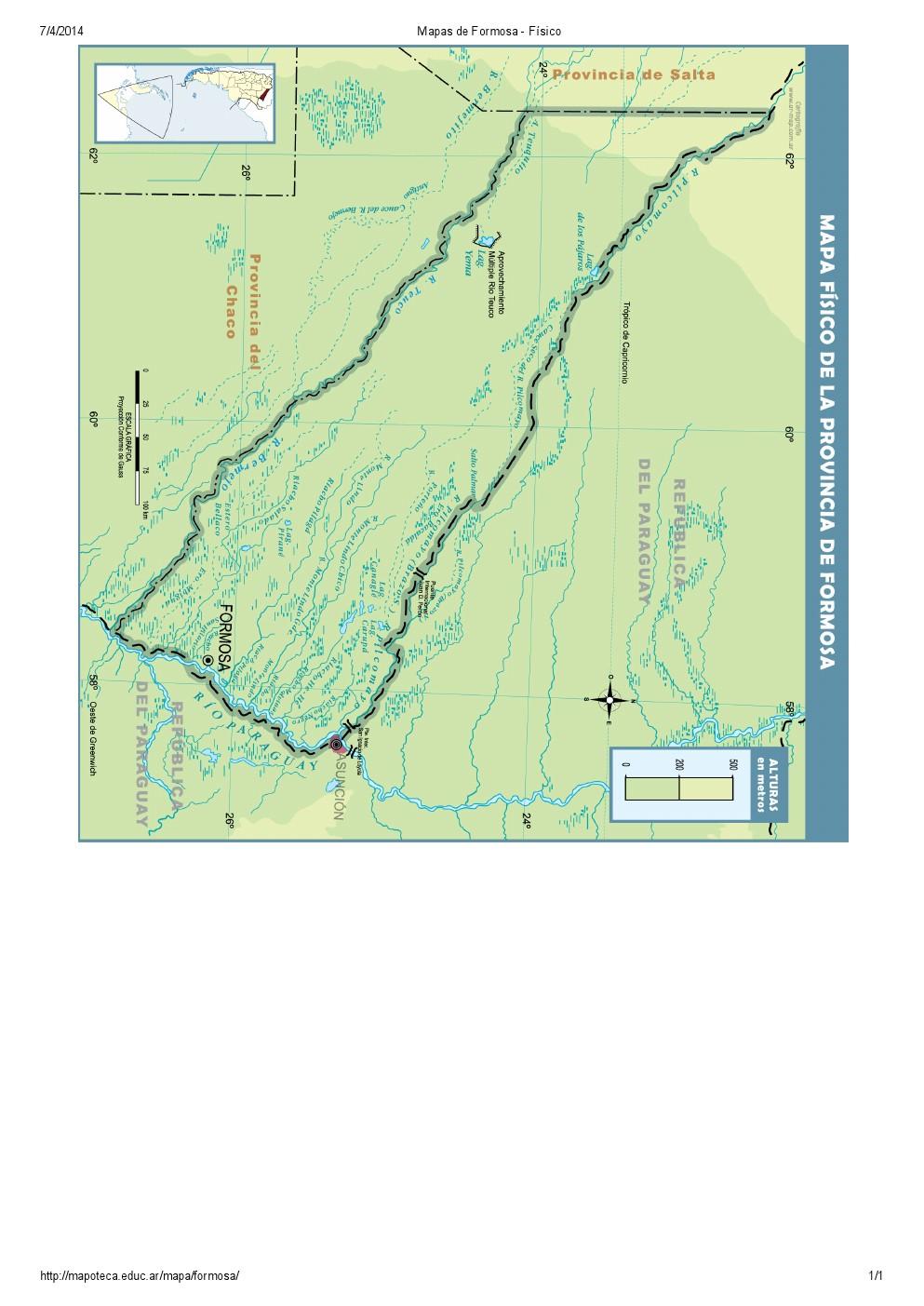 Mapa de ríos de Formosa. Mapoteca de Educ.ar