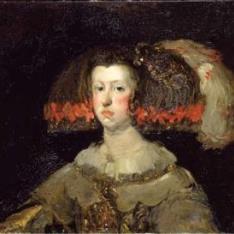 Copia de un fragmento del Retrato de la Reina Mariana de Austria de Velázquez