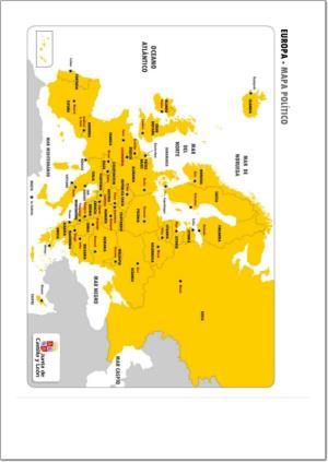 Mapa de países y capitales de Europa. JCyL