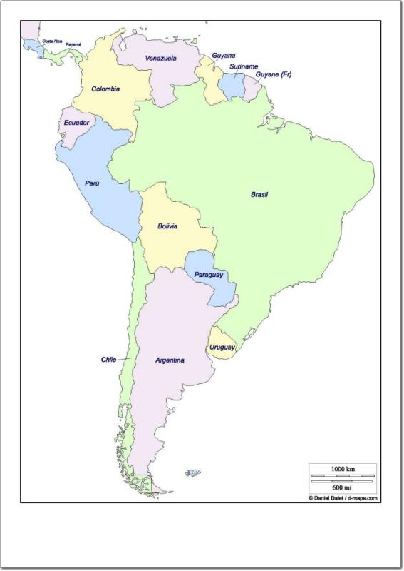 Mapa de países de Sudamérica. d-maps