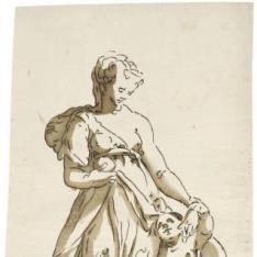 Figura femenina con niño desnudo