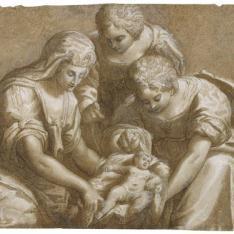 La hija del faraón con dos sirvientas atendiendo a Moisés