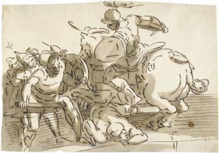 Horacio Cocles, cabalgando hacia la izquierda, defendiendo el Puente Sublicio contra Lars Porsenna y los etruscos