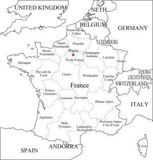 Mapa de departamentos de Francia. Freemap