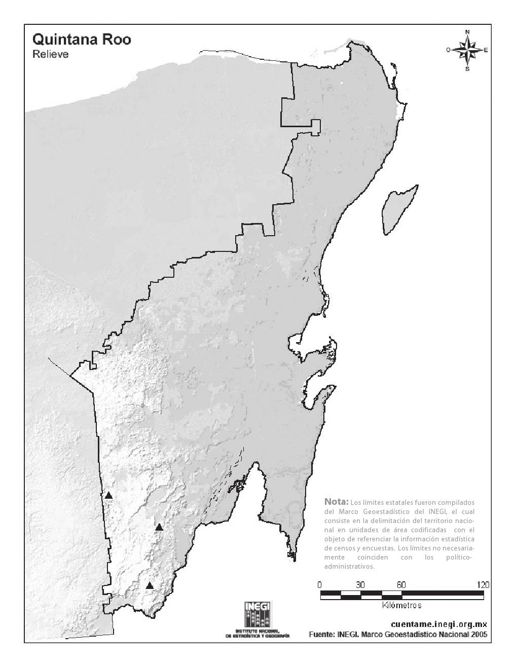 Mapa mudo de montañas de Quintana Roo. INEGI de México