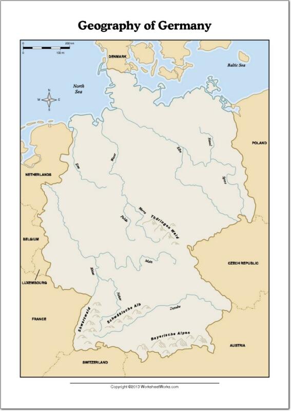 Mapa de ríos y montañas de Alemania. WorksheetWorks