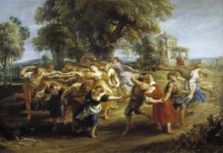 Danza de personajes mitológicos y aldeanos