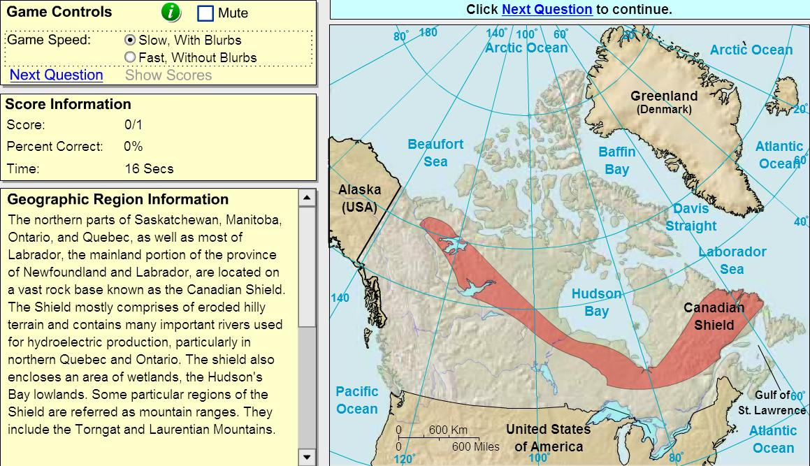 Geographic regions of Canada. Game. Sheppard Software