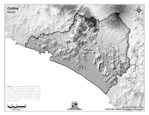 Mapa mudo de montañas de Colima. INEGI de México