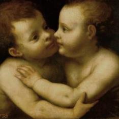 Jesús y San Juan abrazándose