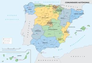 Mapa de comunidades autónomas y provincias de España. IGN