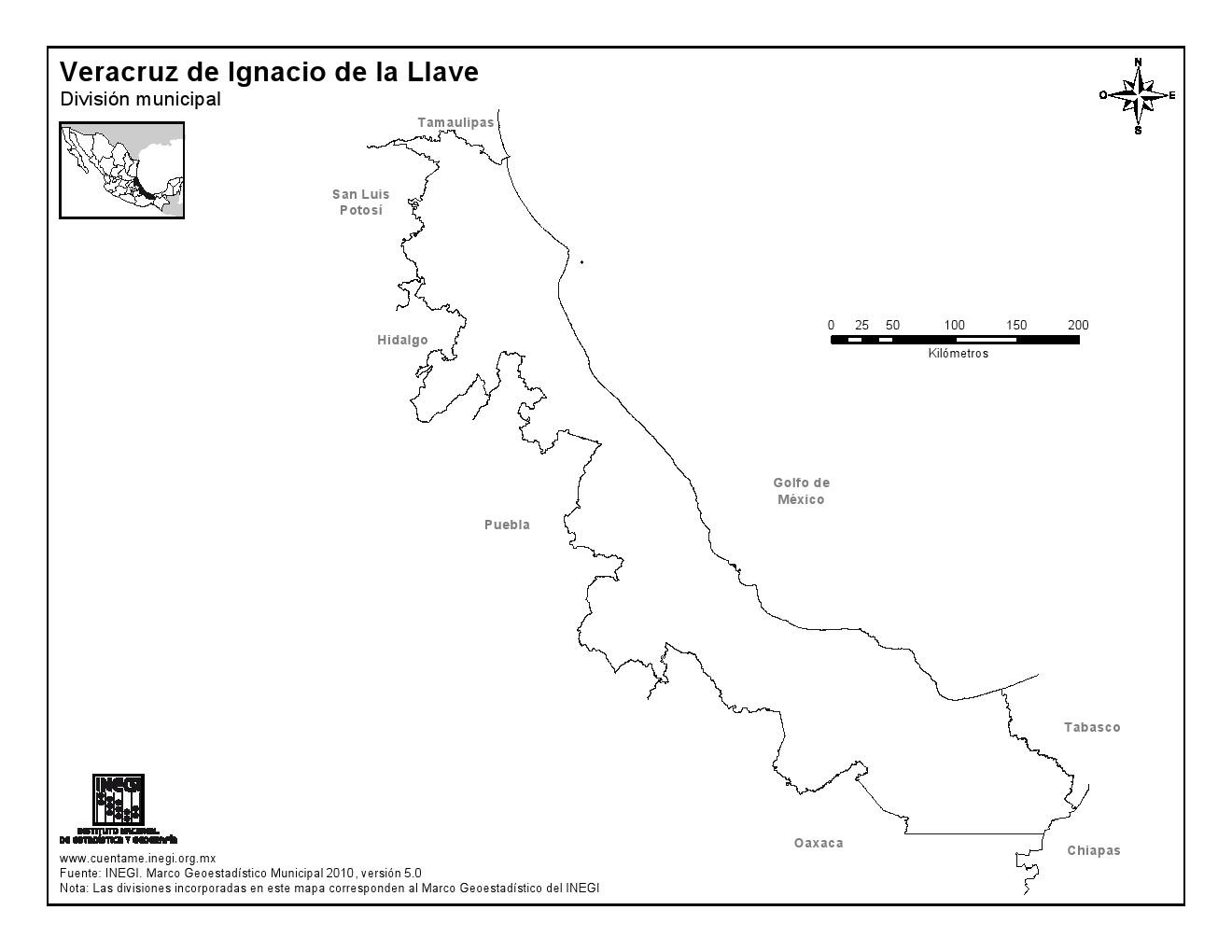 Mapa mudo de Veracruz. INEGI de México