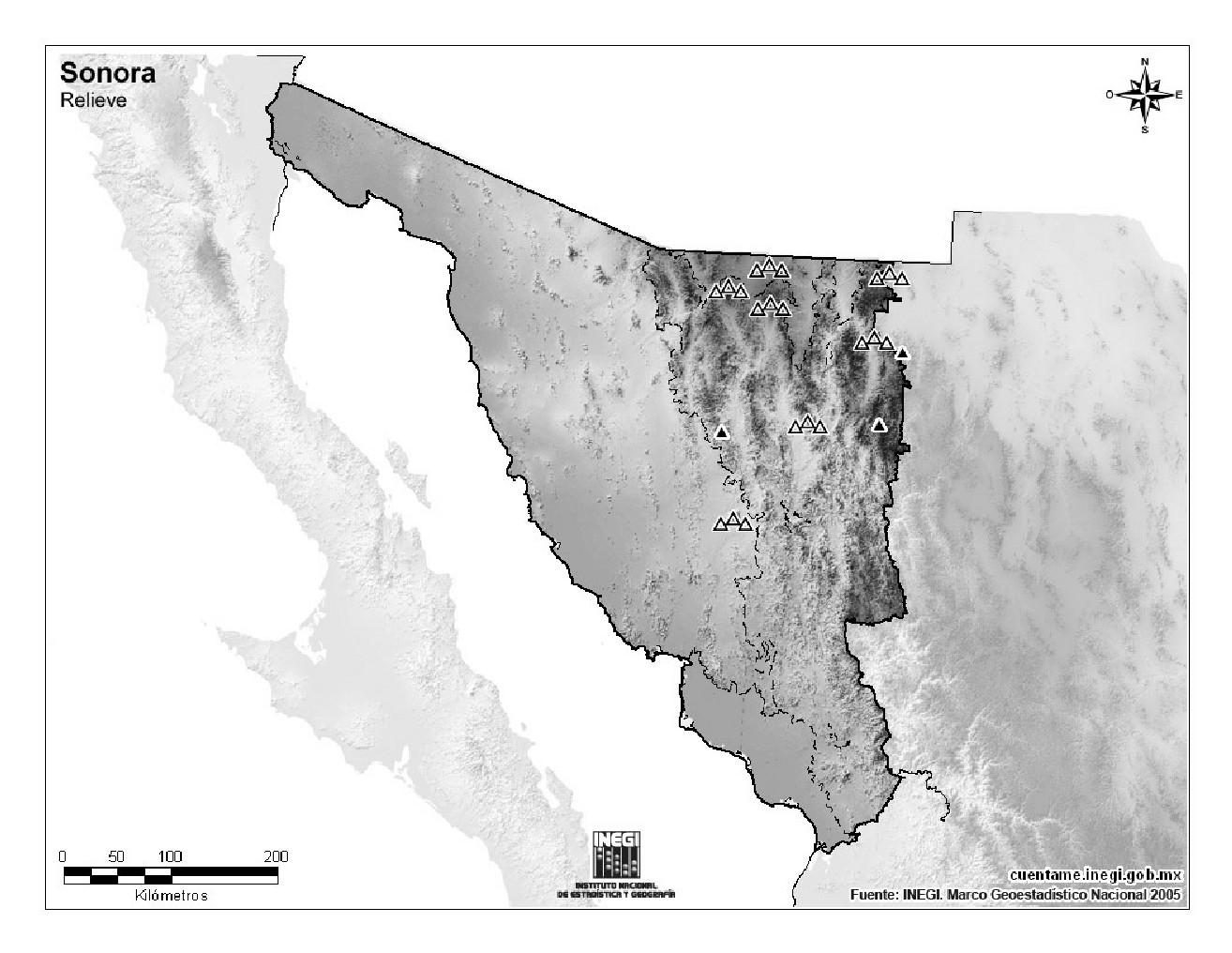 Mapa mudo de montañas de Sonora. INEGI de México