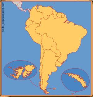Países de Sudamérica. Dibujos para pintar