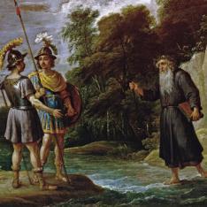 El mago descubre a Carlos y Ubaldo el paradero de Reinaldo (La búsqueda de Reinaldo)