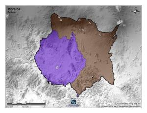 Mapa mudo de montañas de Morelos. INEGI de México