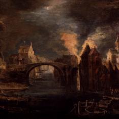 Incendio de ciudad en la noche