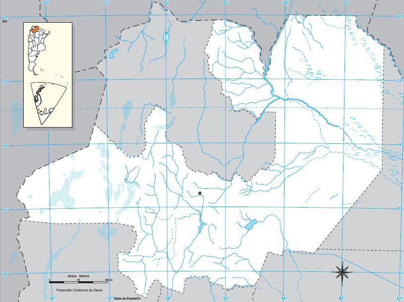 Mapa mudo de Salta. IGN de Argentina