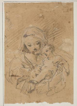 La Virgen con el Niño / Fragmento de carta en italiano