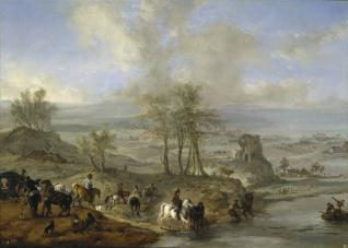 Partida de caza y pescadores