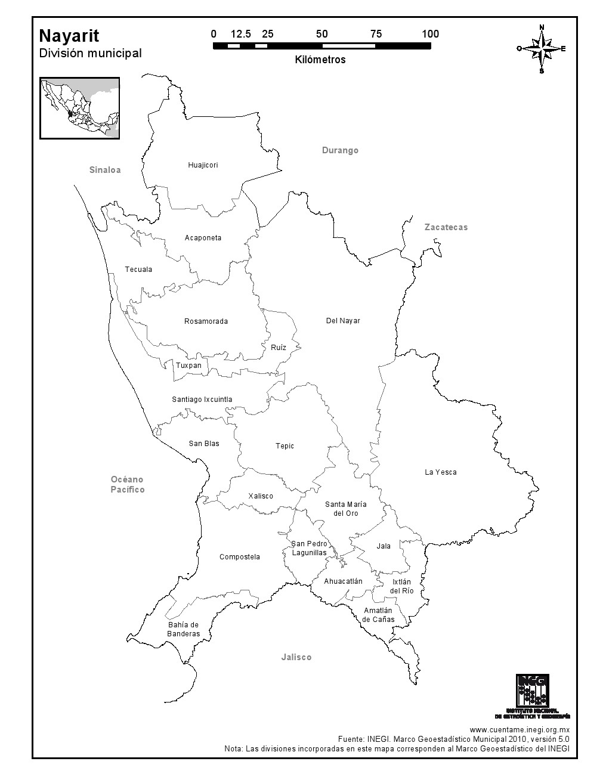 Mapa de municipios de Nayarit. INEGI de México