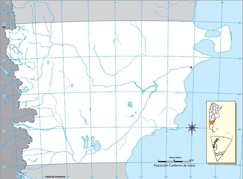 Mapa mudo del Chubut. IGN de Argentina