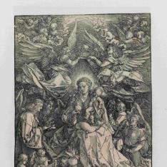 La Virgen y el niño rodeados de muchos ángeles