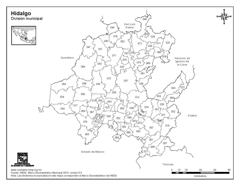 Mapa de municipios de Hidalgo. INEGI de México