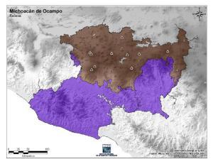 Mapa mudo de montañas de Michoacán de Ocampo. INEGI de México