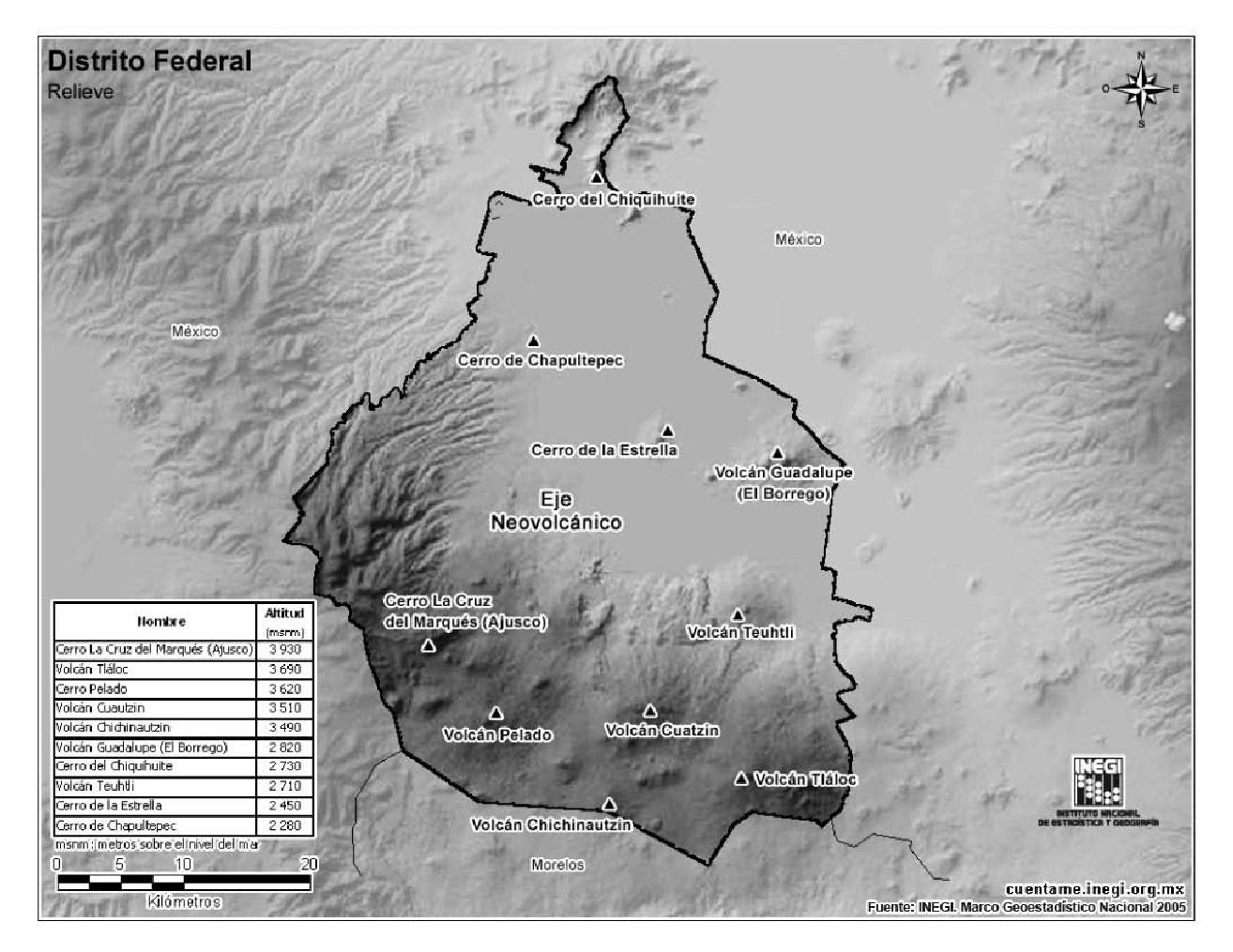 Mapa de montañas de Ciudad de México. INEGI de México