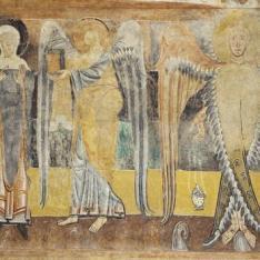 La Anunciación y ángel turiferario. Pintura mural de la Iglesia de la Vera Cruz de Maderuelo.