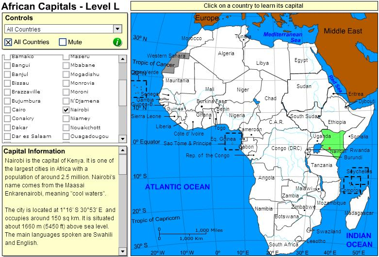 Capitals of Africa. Tutorial. Sheppard Software