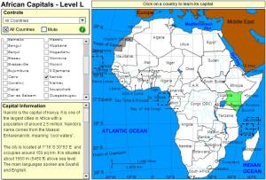 Capitals of Africa. Tutorial. Sheppard Software