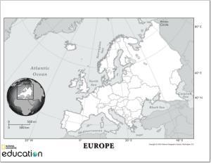 Mapa de países de Europa. National Geographic