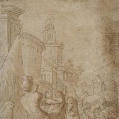 Escena de caballería ante las puertas de una ciudad
