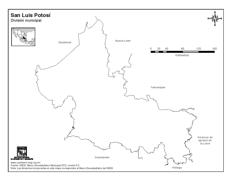 Mapa mudo de San Luis Potosí. INEGI de México