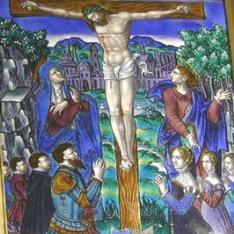 Crucifixión con orantes